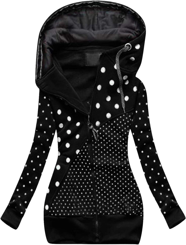 Toeava Women's Warm Zipper Dot Print Hoodies Long Sleeve Drawstring Pullover Hooded Sweatshirts Casual Tops with Pockets