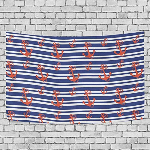 JXZIARON Tapiz Art Paño para Colgar en la Pared Impresión HD Cocina Dormitorio Sala de Estar Decoración,Fondo Exclusivo Red An-chor y Blue Wave Line para 60x40 pulgadas-1M