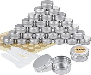 30 Pezzi Vasetti Alluminio, Barattoli Metallo Vasetto Vuoto Contenitori Cosmetici con copri di Vite e etichette e Mini Spa...