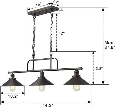 Zeyu Industrial 3-Light Pendant Lighting, Vintage Kitchen Island Light with Oil Rubbed Bronze Finish, 102-3 ORB