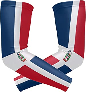 ZZKKO Dominican Republic Flag Cooling Arm Sleeves Cover Uv Sun Protection for Men Women Running Golf Cycling Arm Warmer Sleeves 1 Pair