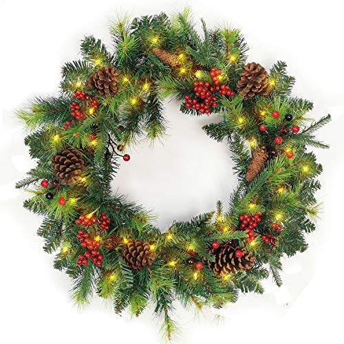 XIAOCAI Artificial Christmas Wreaths 18 Inch with LED Lighted and Mixed Decorations Pine Cones Berries Xmas Spruce Battery Operated for Front Door Windows Outdoor (Green-24 inch)