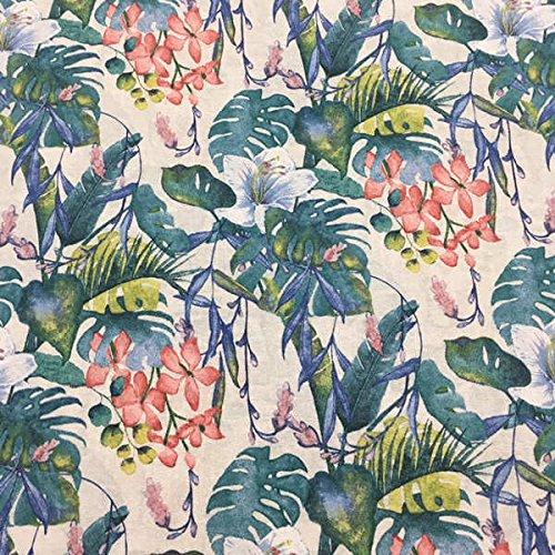 Kt KILOtela Tela de loneta Estampada Digital - Retal de 100 cm Largo x 280 cm Ancho | Flores del Pacífico - Rosa, Verde, Blanco ─ 1 Metro