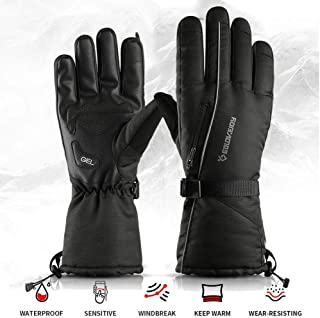 ditional Winter Motorcycle Ski Gloves, Night Reflective Mittens Outdoor Mountaineering Touch Screen Warm Gloves Windproof and Waterproof for Ice Fishing Skiing Sledding Snowboard Helpful