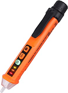 CAMWAY Non-contact Dual AC Voltage Detector Test Pen Adjustable Sensitivity 12-1000V/48V-1000V with LED Indicator Alarm Mode, Live/Null Wire Judgment