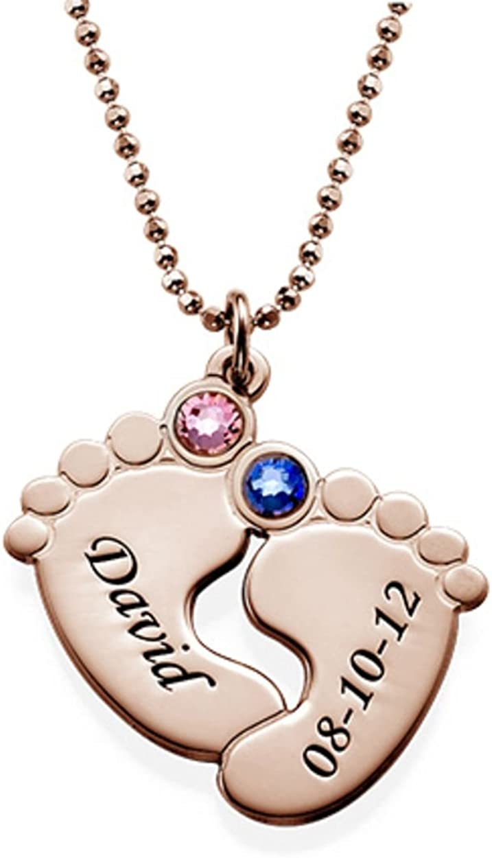 MyNameNecklace Custom Baby Feet Pendant Trust with Crys Swarovski Courier shipping free Made