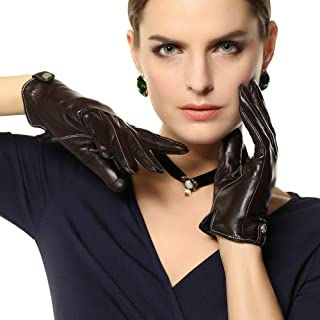 SHENTIANWEI Leather Gloves Women's Thin Lined Short Winter Warm Fashion Leather Gloves (Color : Brown-Touch screen, Size : S)