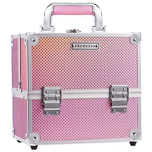 Frenessa Makeup Train Case Beauty Cosmetic Box Professional 4-trays Jewelry Storage Organizer with Lockable Pink lining Perfect Gift for Women and Girls - Mermaid Pink