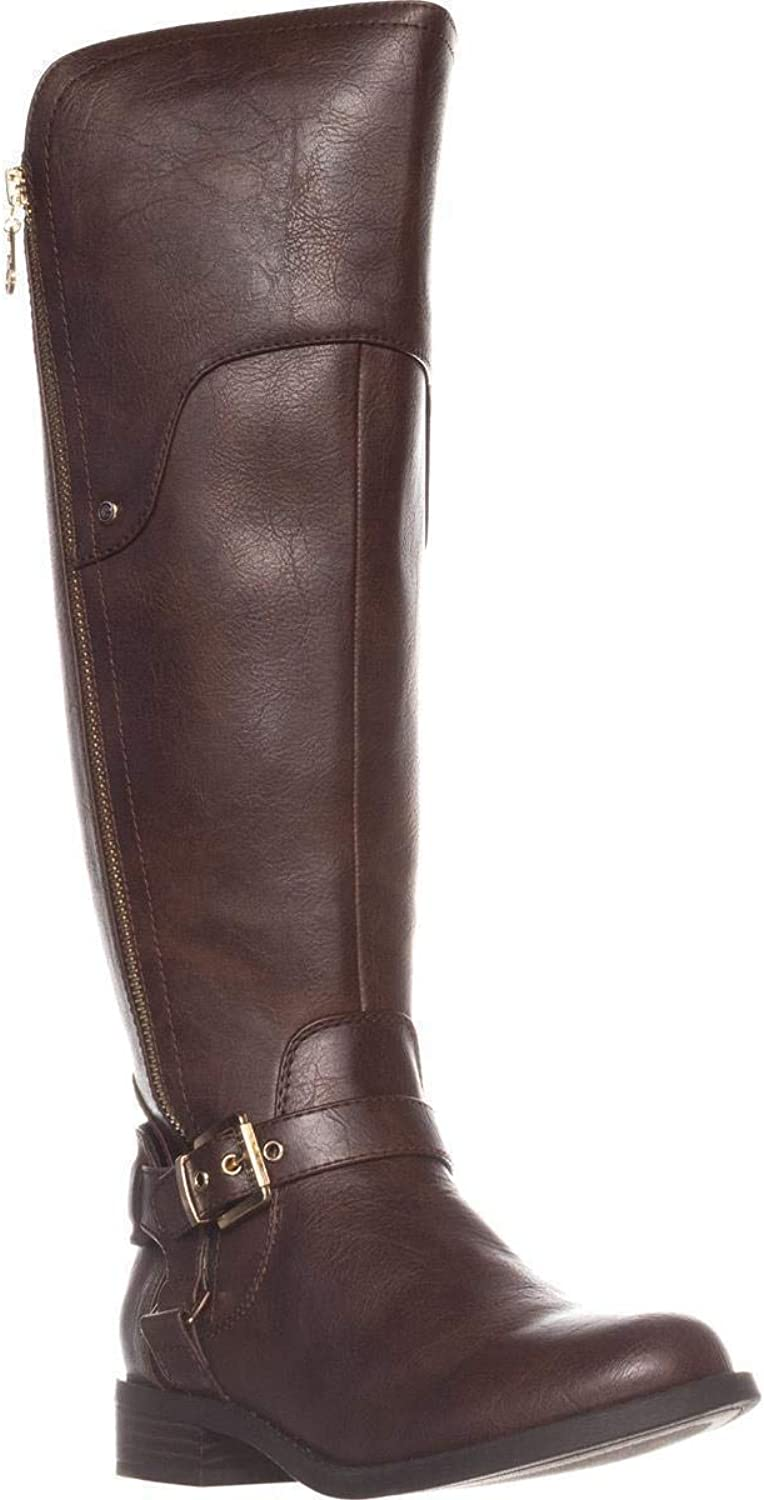 G By Guess Womens Harson Almond Toe Knee High Fashion Boots, Brown, Size 8.0