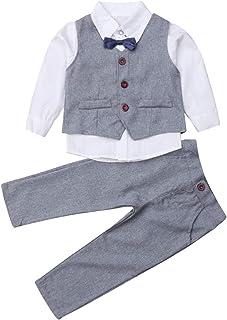 ef4d0e003 Zoey's DreamHouse 4Pcs Little Boy Gentleman White Shirt + Suit Vest + Long  Pants + Bow