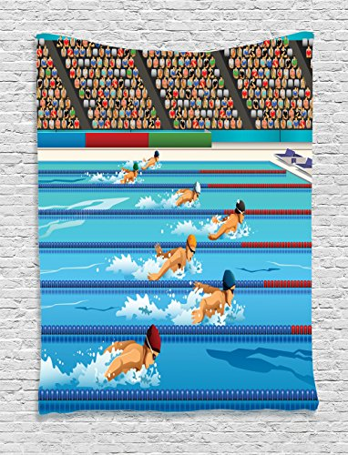 Ambesonne Olympics Tapestry, Illustration of Swimmers During Swimming Competition Sports Theme Cartoon Art, Wall Hanging for Bedroom Living Room Dorm Decor, 40