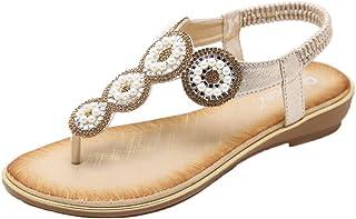 f2d628724d8b8 Hessimy Ladies Sandals Peep Toe T-Strap Bohemia Women Sandals Flats Flip  Flops Beach Holiday