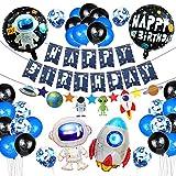 Decoracion Cumpleaños,Globos Cumpleaños de Niño,Azul Decoraciones para Espacio Fiestas de Cumpleaños, Globo de Cohete Astronauta Robot Happy Birthday, Decoración de Feliz Cumpleaños con Accesorios