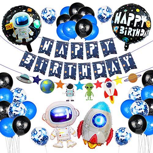 Geburtstagsdeko,Deko Geburtstag Junge,40 Stück Geburtstag Dekoration Set mit Happy Birthday Banner,Latex Ballon,Folienballon,Happy Birthday Deko für Alle Männer und Frauen