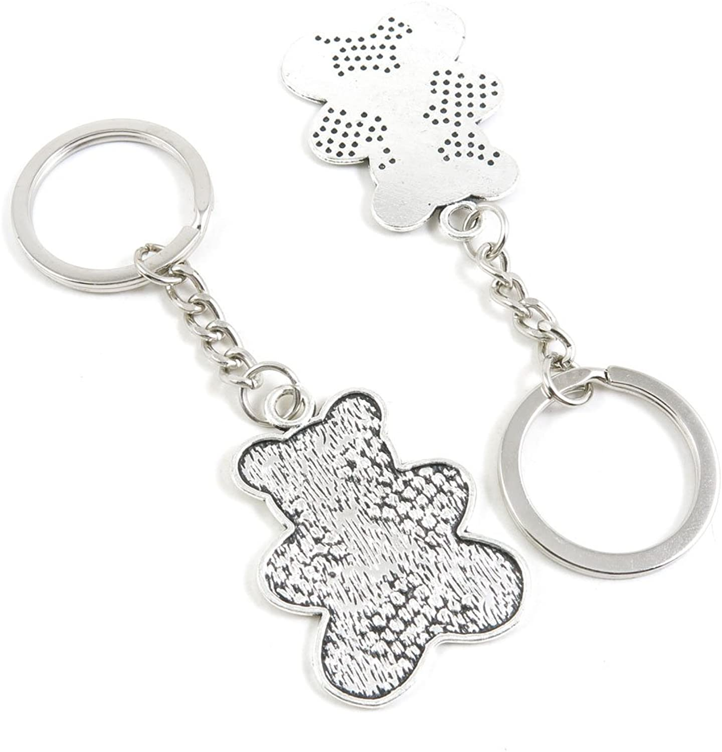 100 Pieces Keychain Keyring Door Car Key Chain Ring Tag Charms Bulk Supply Jewelry Making Clasp Findings D5QG7S Teddy Bear Winnie