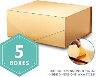 PACKHOME Gift Boxes Rectangular 9.5x7x4 Inches, Bridesmaid Boxes Rectangle Collapsible Boxes with Magnetic Lids for Gift Packaging (Glossy Gold, 5 Boxes)