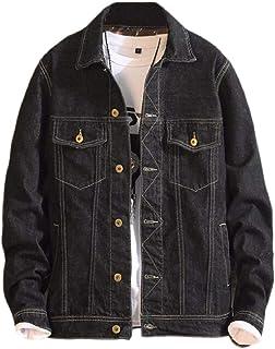 pujingge Men Unlined Jacket Slim Fit Denim Coat Long Sleeve Outerwear