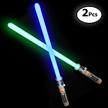 DG SPORTS Laser Sword's for Kids (2 Pack) - Double Bladed Light Saber Toy with Sounds – Blue/Green Colors - 28
