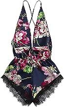 BBesty Save 15% Women's Fashion Sexy Lace Satin Floral Bow Backless Bodysuit Teddy Lingerie Pajamas Sleepwear