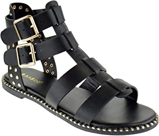 f04e9393b11 BAMBOO Minimal 58 Womens Open Toe Dual Buckle Studded Flat Caged Gladiator  Sandals