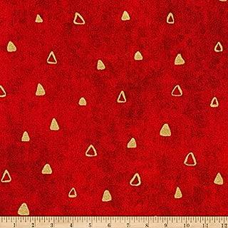 Robert Kaufman Kaufman Gustav Klimt Triangles Metallic, Red