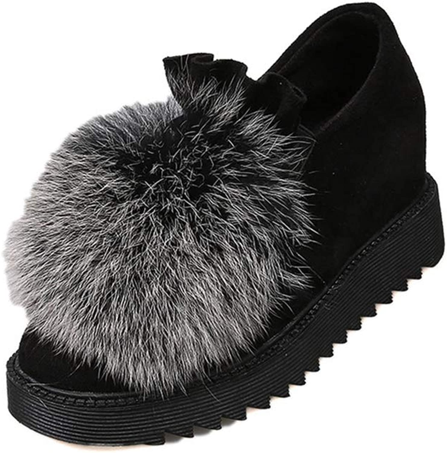 Women Fluffy Fur Loafer Flock Ruffles Round Toe Casual Concise Slip on Flats shoes