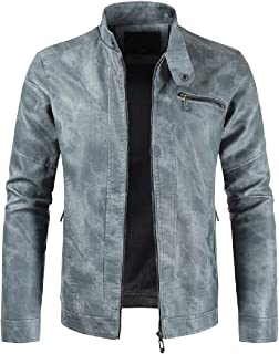 Men Autumn Thicken Warm Casual Zip Up Slim Bomber Faux Leather Jacket