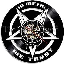 CVG 1 Pieza en Metal Confiamos en la música Cita Reloj de Pared Heavy Metal Vinyl Record Reloj de Pared Mood Lighting Rock Decor Wall Art