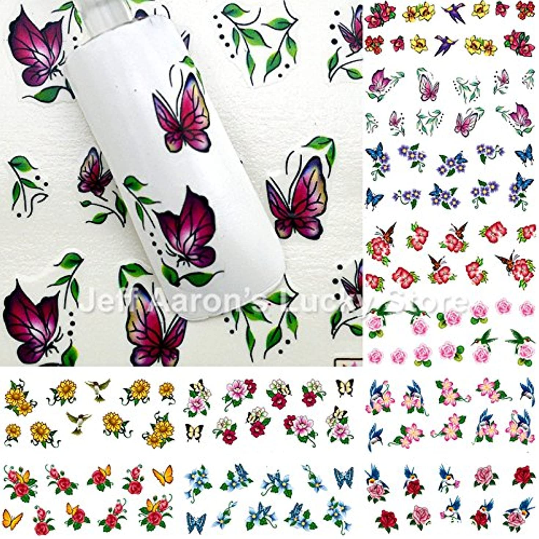 政策手紙を書く押し下げるIthern(TM)爪の装飾マニキュアツールの美しさの花BRID設計のための12枚混合スタイルの水の転送ネイルアートステッカーデカール