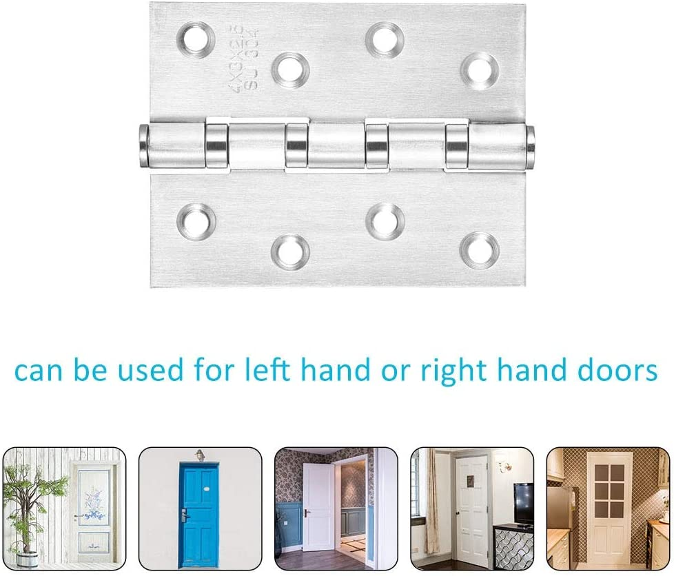 Color : Silver 4 Inches Stainless Steel Furniture Drawer Cabinet Door Hinge Ball Bearing Hinges Furniture Hardware Family Practical Hinge