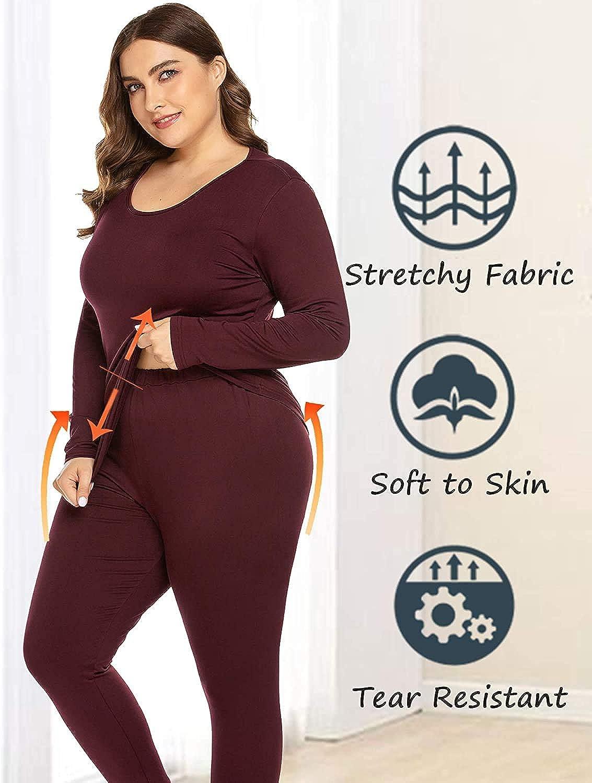 Women's Plus Size Pijamas Sets Basic Jersey Cotton Long Johns Lined 2 PCS PJ Underwear TOP & Bottom Leggings Pajamas Set