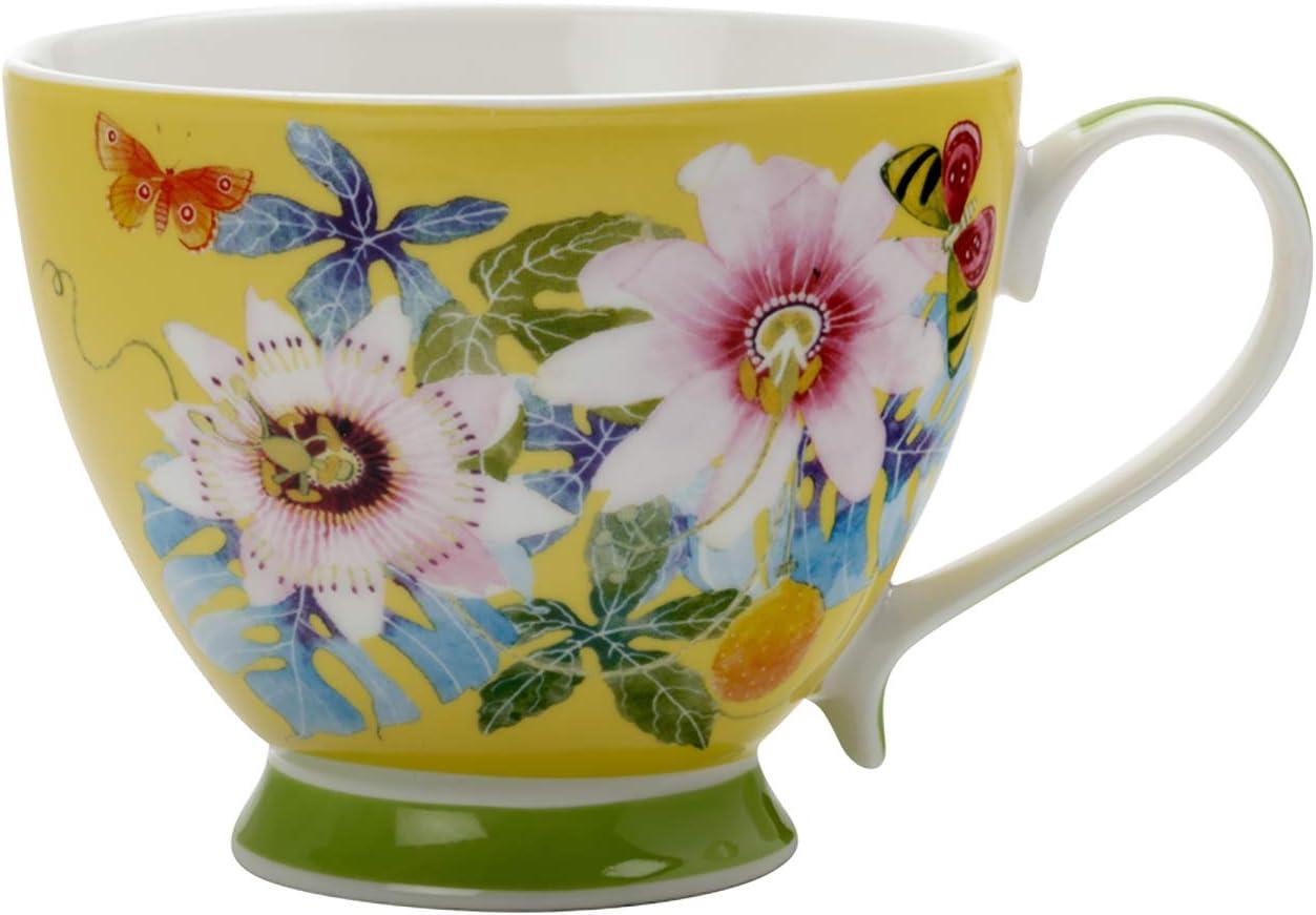 Maxwell Williams Tasse /à th/é Exotica Motif Frangipani Vert dans une bo/îte cadeau Vert//rouge Porcelaine Porcelaine Bleu verger 400 ml