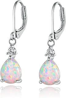 GEMSME White Gold Plated Teardrop Opal Dangle Earrings For Women