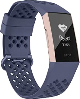 Adepoy Compatible with Fitbit Charge 3 Bands, Breathable with Air Holes Replacement Wristbands Compatible for Fitbit Charg...