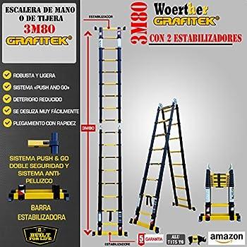 ESCALERA DE TIJERA TELESCÓPICA TRIPLE FUNCIÓN / 3M80-1M90 / GAMA GRAFITEK / CON DOBLE BARRAS RUEDINES / GARANTÍA 5 AÑOS: Amazon.es: Hogar