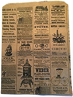 Set/50 Vintage Newspaper Print Flat Paper Gift Bags, 8 1/2 x 11