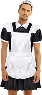 easyforever 3Pcs Men Adults Sissy Crossdress Cosplay Costume Outfit Stain Dress with Apron and Headband