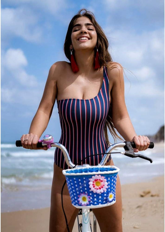 QAZWSX Striped One Shoulder Swimwear One Piece Swimsuit Women Bathing Suit Thong Female Bodysuit Beachwear