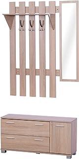 HOMCOM Ensemble de Meubles d'entrée 3 pièces Meuble Chaussures, Miroir et Panneau Porte-Manteau Panneaux Particules chêne ...
