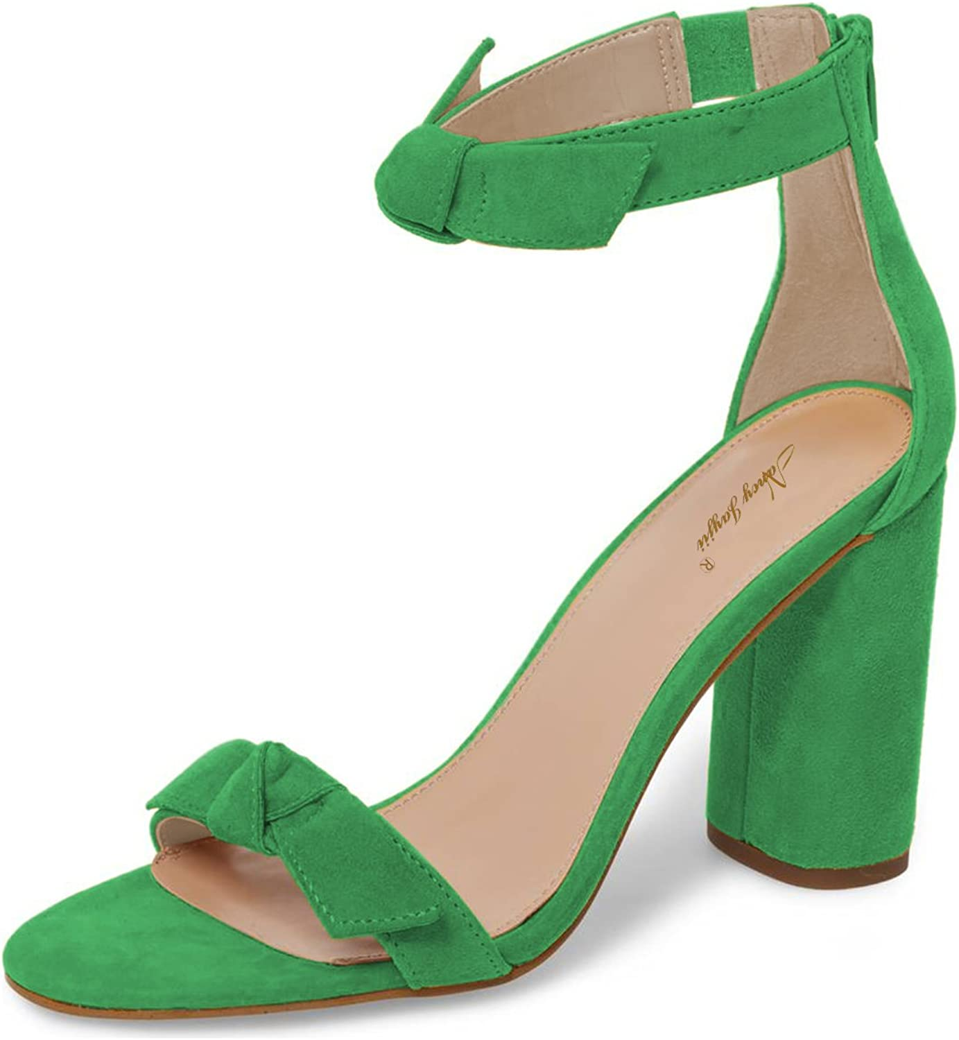 NJPU Women Chunky High Heel Pumps Ankle Strap Open Toe Sandals Evening Dress Dance shoes with Bow