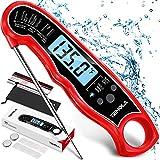 Termometro Cucina, Termometro da Cucina alimenti a lettura istantanea, termometri da cucina digitale ultra veloce impermeabile, Retroilluminazione del display LCD per Carne BBQ Vino Liquidi (Rosso)
