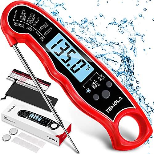 Fleischthermometer Digitales Grillthermometer, Bratenthermometer Wasserdicht thermometer mit 2s Sofortiges Auslesen und LCD Bildschirm, Küchenthermometer für Küche, Braten, Grill, Baby-Ernährung