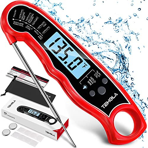 Meat Thermometer, Instant Read Food Thermometer with LCD Backlight Calibration, Waterproof Ultra Fast Digital Cooking Thermometer for Candy Deep Fry...