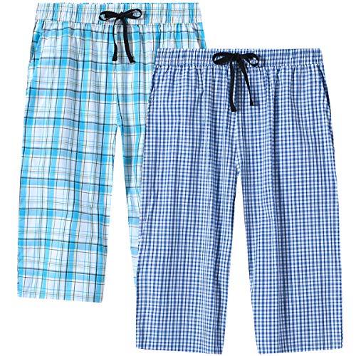 MoFiz Mujer Pantalón de Pijama 3/4 Largo Casual Patalones a Cuadros de Algodón 2 Pack-04 L