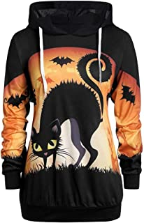 Xinantime Womens Hooded Sweatshirt Long Sleeve Halloween Pumpkin Bat Cat Print Blouse Loose Cute Tops