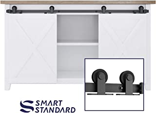 SMARTSTANDARD 5FT Mini Sliding Barn Door Hardware Track Kit -Super Smoothly and Quietly -for Double Opening Cabinet, TV Stand, Closet, Window - Fit 15