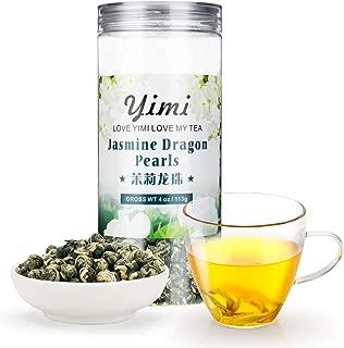 Yimi Jasmine Dragon Pearl Green Tea,Organic Dried Jasmine Flower Loose Leaf Chinese Herbal Tea 4 Oz, Holiday Gift