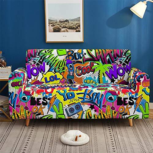 Copridivano Poliestere Elasticizzato Stile Hip-Hop Bracciolo Graffiti Copridivano Sofa Cover Antiscivolo Antivegetativa Soggiorno Dormitorio Fodera per Divano Elastico (E,3 Posti 190-230 cm)