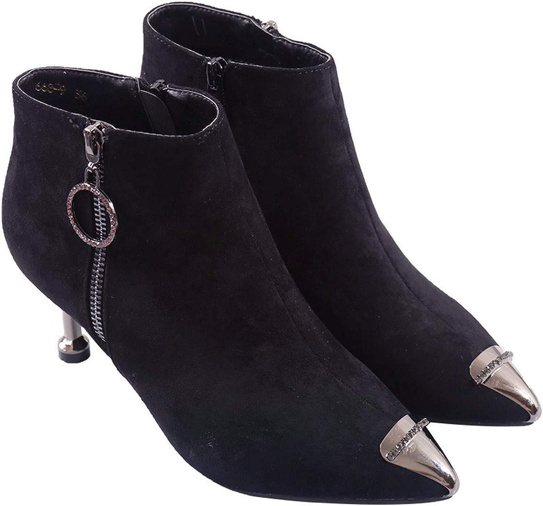 LBTSQ-Moda Sautope da Donna A Breve Gli Stivali con Alto 6Cm Ttuttione Moda in Testa Zip Inverno Martin Gli Stivali.