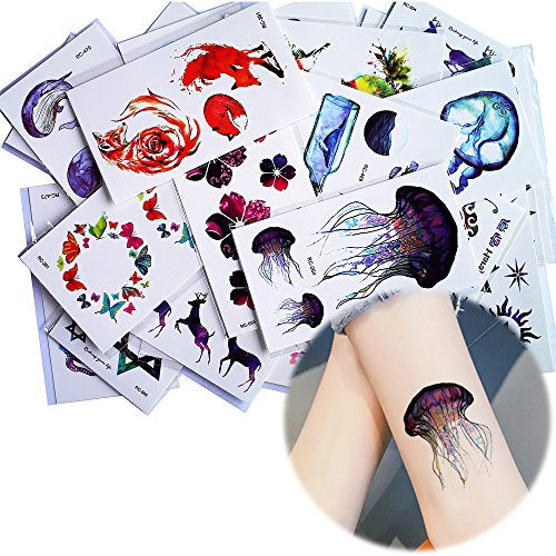 25 Sheets Watercolor Drawing Blue Sea Small Pattern Temporary Tattoo Sticker